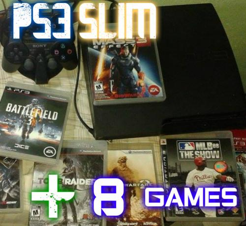 play station 3 slim 250 gb + 2 controles + 8  - Imagen 1