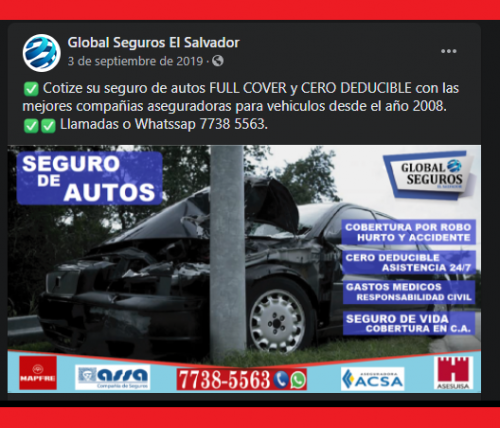 dd Seguro de Autos FULL COVER/CERO DEDUCIBLE - Imagen 1